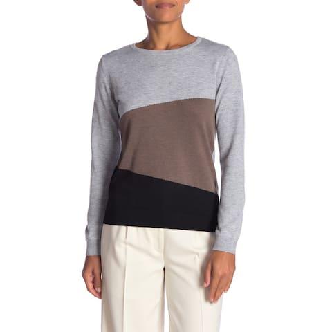 Joseph A Women's Gray Black Size Small S Colorblock Crewneck Sweater