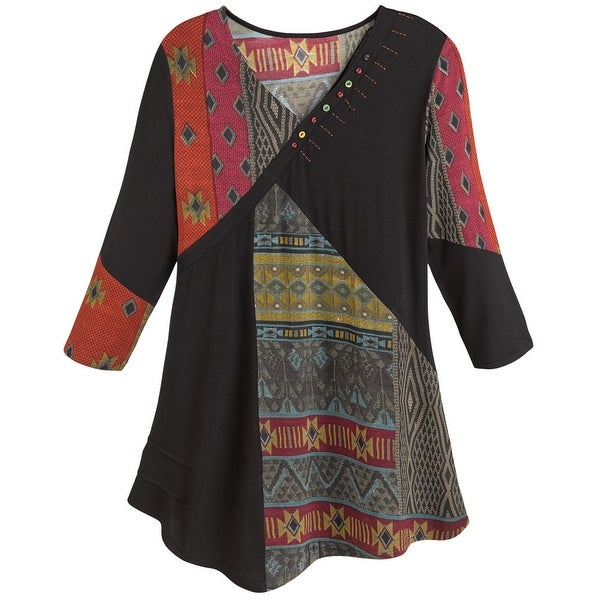 Women's Tunic Top- Red and Black Tapestry Print Patchwork Shirt