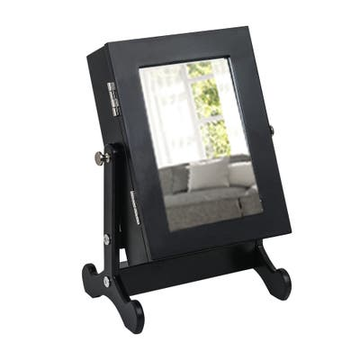 Small Mirror Jewelry Cabinet Organizer Case Storage Box with Stand Black - N/A