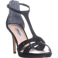 Nina Brietta T-Strap Evening Sandals, Black