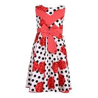 Richie House Little Girls Red Roses Black Polka Dot Flower Party Dress 4-7