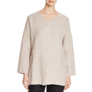 Eileen Fisher Womens Basic Jacket Linen Lapel Tan S