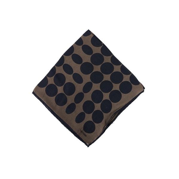 Tom Ford Mens Grey Brown Abstract Circle Silk Pocket Square