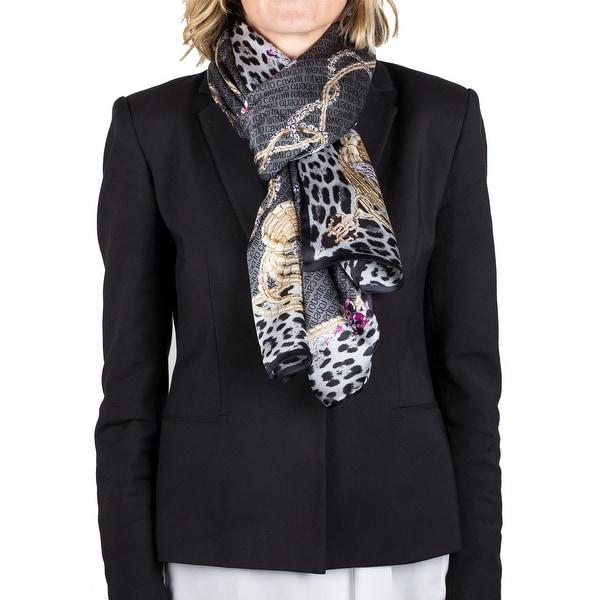 Roberto Cavalli Women's Logo Floral Animal Print Silk Scarf Large