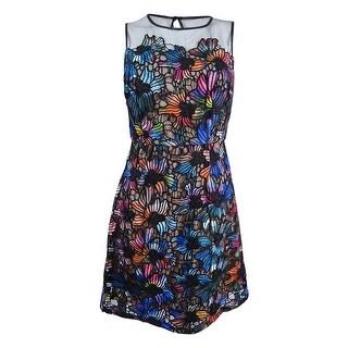 Aidan Mattox Women's Lace Illusion Cocktail Dress - Black Multi