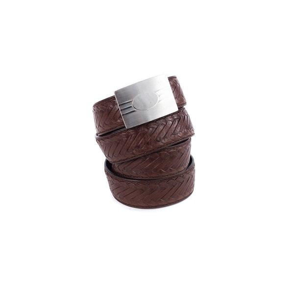 Brunello Cucinelli Womens Brown Mock-braid Leather Derby Belt