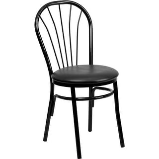 Dyersburg Fan Back Metal Chair - Black Vinyl Seat