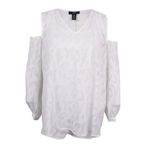 Alfani Women's Plus Size Jacquard Cold-Shoulder Blouse - Bright White