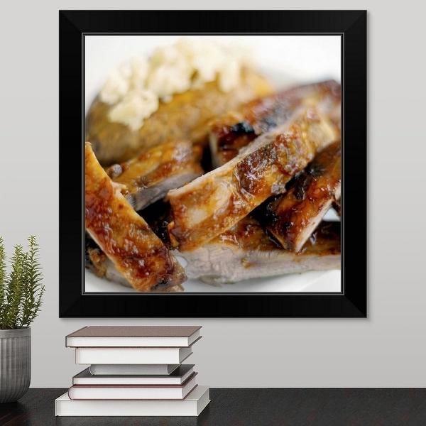 """""""Close-up of a dish of mashed potato and spare ribs"""" Black Framed Print"""