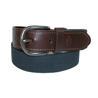 Nautica Boys' Web Belt with Leather Tabs - Navy