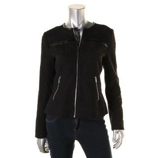 Calvin Klein Womens Mixed Media Faux Leather Trim Basic Jacket - 6