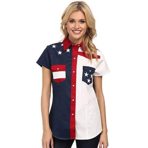 Roper Western Shirt Womens Short Slv American Blue