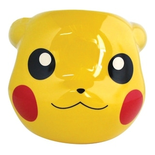 Pokemon Pikachu Coffee Mug - Yellow Ceramic 3D Sculpted Cup - 16 Ounce