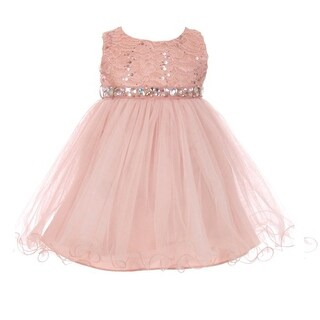 Baby Girls Pink Sequin Stone Lace Tulle Sleeveless Flower Girl Dress