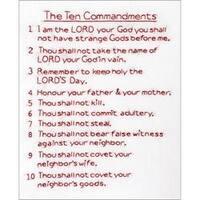 "10 Commandments - Stamped White Sampler 11""X14"""