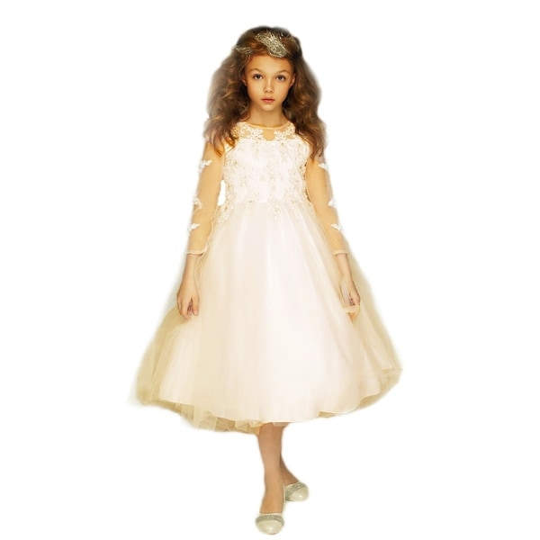 5503c1aa9 Shop Petite Adele Girls Champagne Embroidered Hi-Low Junior Bridesmaid Dress  - Free Shipping Today - Overstock - 27341059