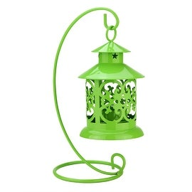 "8.75"" Shiny Green Votive or Tealight Candle Holder Mini Lantern with Hanger"