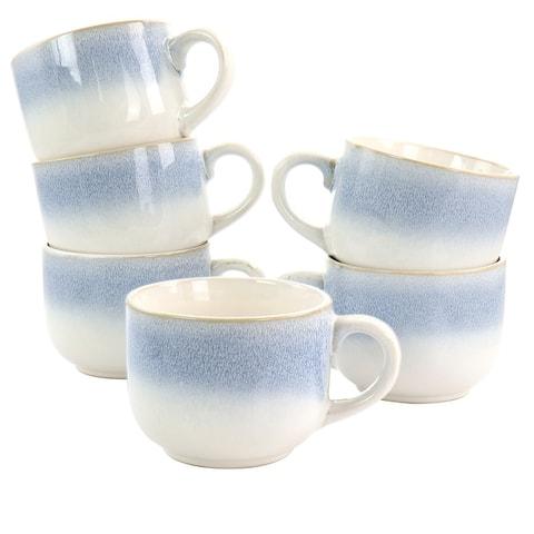 Martha Stewart Blue Rim 6 Piece 24oz Stoneware Latte Mug Set in Blue - White/Blue