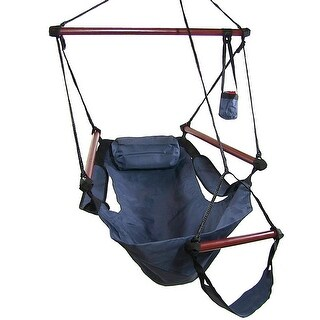Sunnydaze Deluxe Hanging Hammock Chair with Pillow and Drink Holder - Blue - Chair ONLY