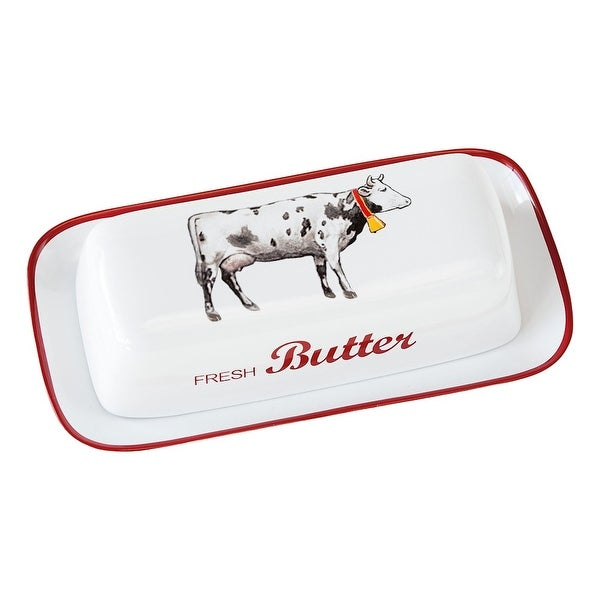 Farmhouse Cow Covered Butter Dish - White Stoneware - By 180 Degrees - 8.25 in. x 4.4 in. x 2.4 in.