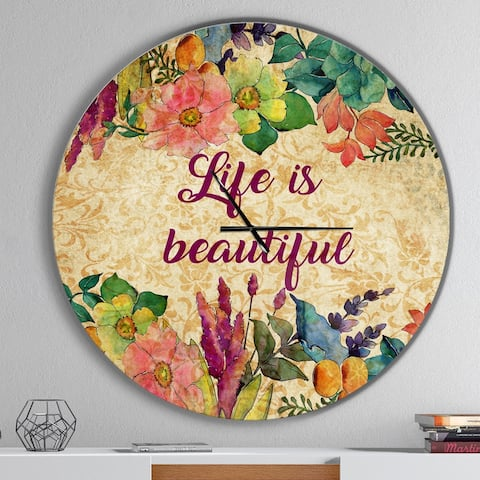 Designart 'Life is Beautiful Butterfly Floral' Oversized Quote Wall CLock