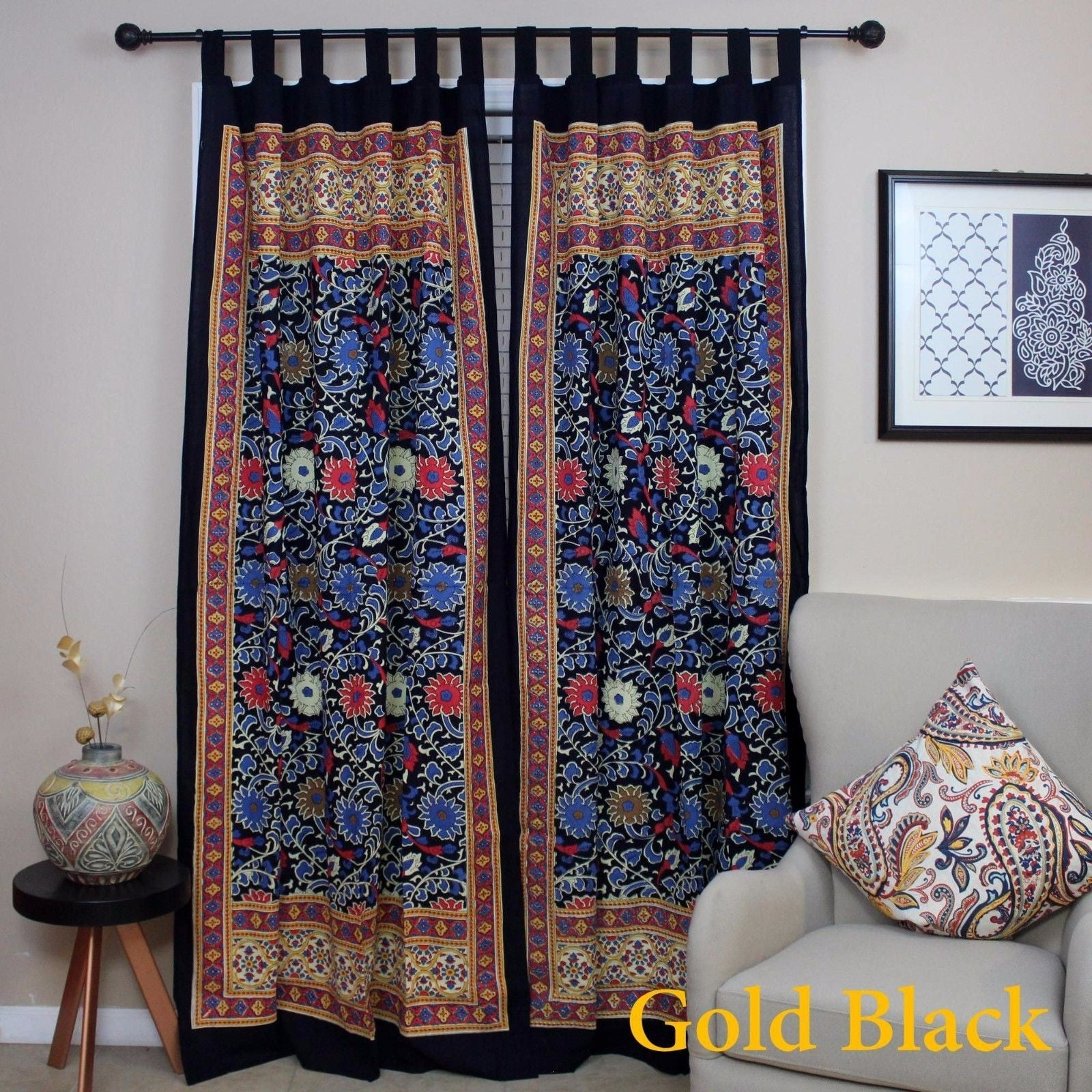 Handmade 100% Cotton Sunflower Floral Tab Top Curtain Drape Door Panel Navy Blue Gray Yellow Black Red 44x88 Inches - Thumbnail 18