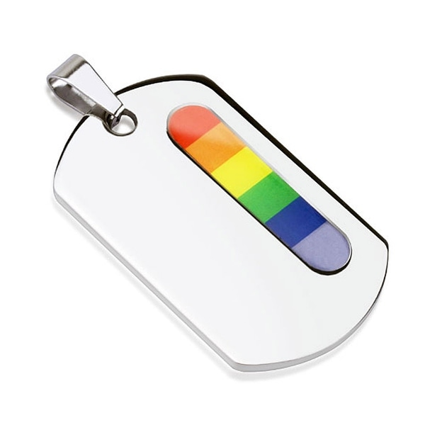 Vertical Rainbow Bar Stainless Steel Dog Tag  (28 mm Width)