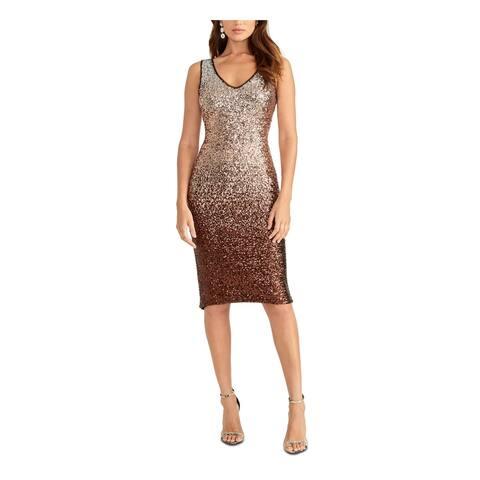 RACHEL ROY Gold Sleeveless Knee Length Dress 10