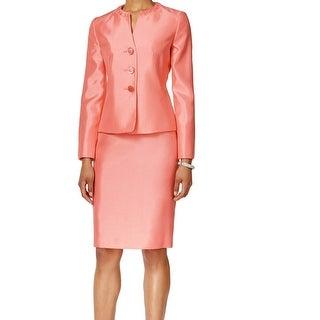 Le Suit NEW Papaya Pink Shantung Women's 4 Three-Button Skirt Suit Set
