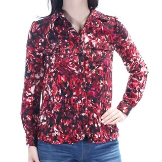 Womens Red Printed Cuffed Collared Button Up Top Size XS