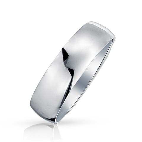 Classic Style 925 Sterling Silver Polished Finish Wedding Band Ring For Men For Women 7mm