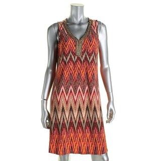 Sandra Darren Womens Petites Casual Dress Printed Embellished