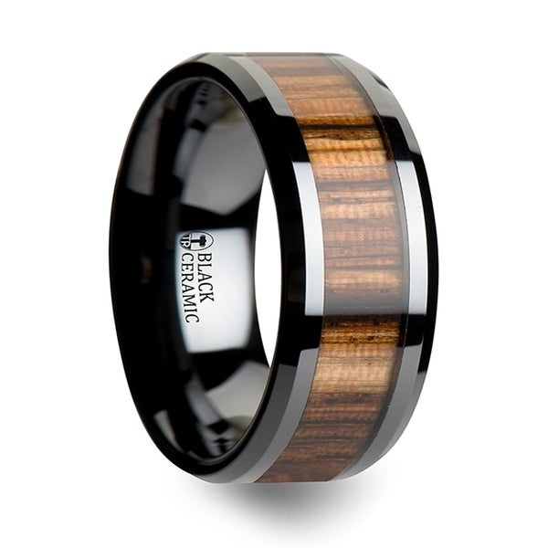 Zebrano Black Ceramic Ring With Beveled Edges And Real Zebra Wood Inlay