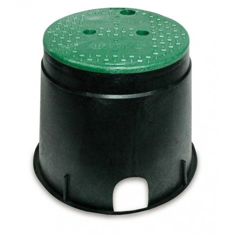 "NDS 111BC Overlapping Irrigation Control Valve Box with Green Cover, 10"", Black"