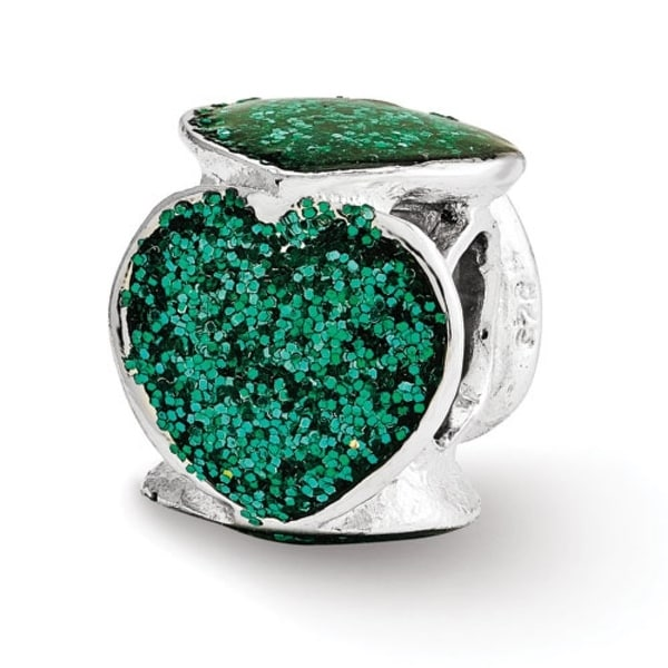 Italian Sterling Silver Reflections Green Glitter Enameled Heart Bead (4mm Diameter Hole)