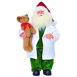 "12"" Medical Doctor Santa Claus Christmas Figure with White Coat and Teddy Bear"