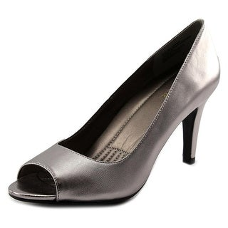 Easy Spirit Keimi Women W Peep-Toe Leather Gray Heels