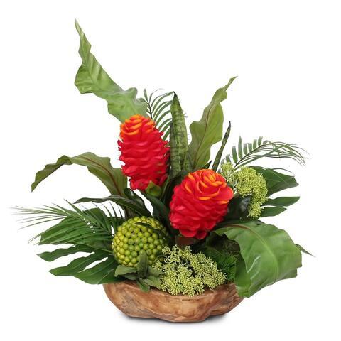 Artificial Tropical Flower Arrangement in Natural Teak Wood Bowl - 24W x 17D x 23H