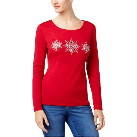 Karen Scott Womens Rhinestones Embellished T-Shirt