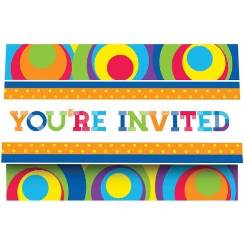 8 Pack Party Invitations Mod Circles - multi
