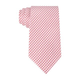 Geoffrey Beene Micro Gingham Check Classic Necktie Red and White Tie - One Size Fits most