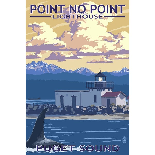 WA - Point No Point Lighthouse - LP Artwork (100% Cotton Towel Absorbent)