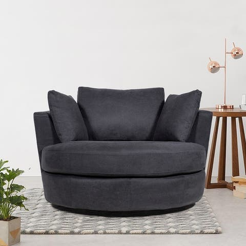 Swivel Upholstered Barrel Accent Living Room Chair With Toss Pillows