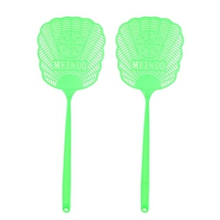 Yellow Plastic Hollow Out Flower Mosquito Cockroach Fly Swatter 2 Pcs