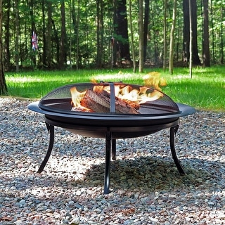Sunnydaze 29 Inch Portable Folding Fire Pit with Carrying Case & Spark Screen