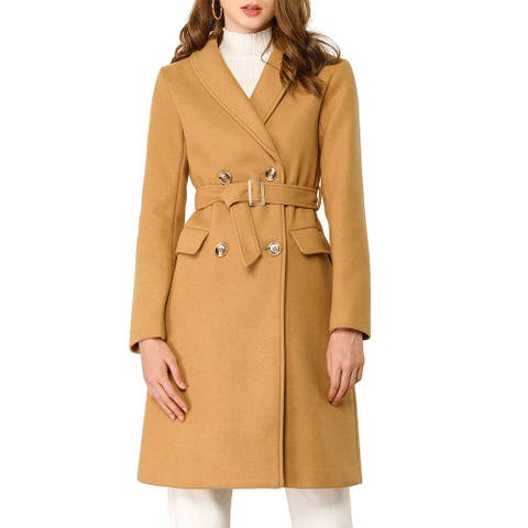 Women's Double Breasted Shawl Collar Chevron Belted Long Winter Coat