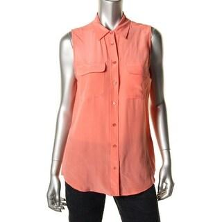 Equipment Femme Womens Silk Sleeveless Button-Down Top - M