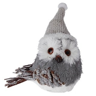 "7"" Alpine Chic Gray and White Owl with Pine Cone Accents Christmas Ornament"