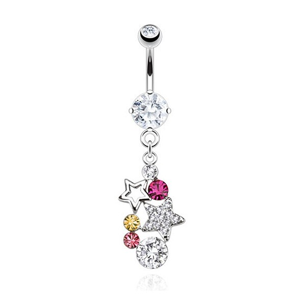 Stars with Multi Paved Gems Dangle Navel Belly Button Ring 316L Surgical Steel (Sold Ind.)