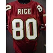 Signed Rice Jerry San Francisco 49ers Authentic San Francisco 49ers Jersey Size 50 Has Red stain on